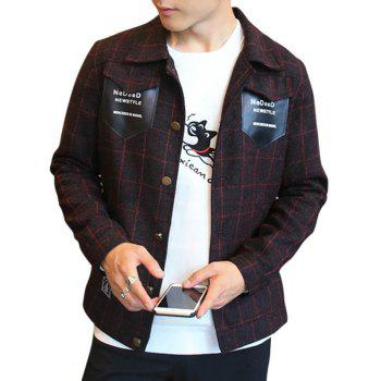 PU Leather Pocket Button Up Check Jacket