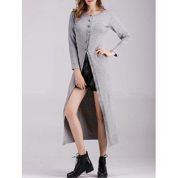 Button Down Ribbed Longline Cardigan