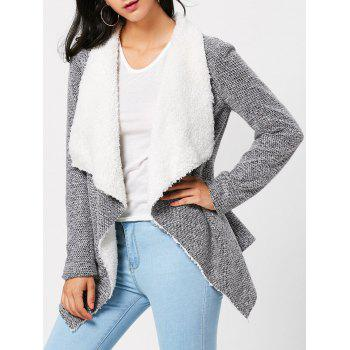 Open Front Faux Fur Embellished Turndown Collar Jacket