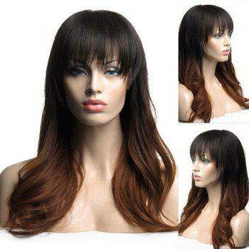Long Neat Bang Colormix Slightly Curly Synthetic Wig