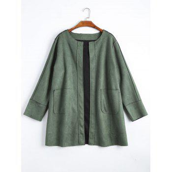 Plus Size Faux Suede Open Front Coat