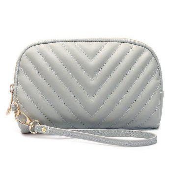 Faux Leather Quilted Zipper Clutch Bag - GRAY GRAY