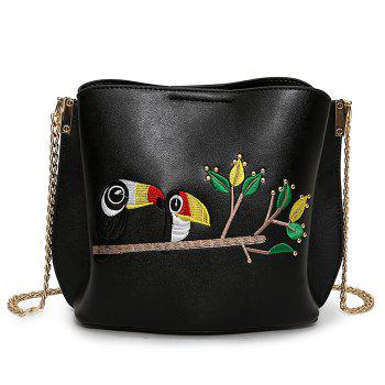 Parrot Embroidered Crossbody Bag