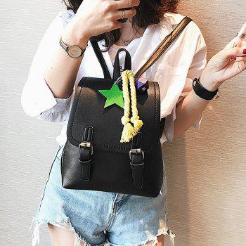 Double Buckle Strap PU Leather Backpack - BLACK