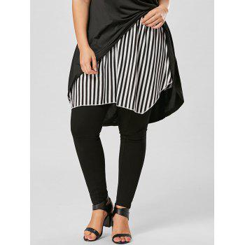 Striped Plus Size Asymmetrical Skirt