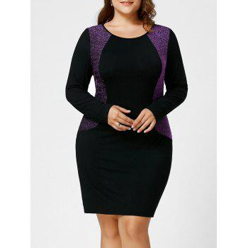 Plus Size Sequined Long Sleeve Hourglass Dress