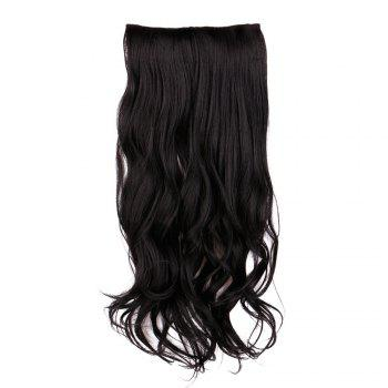 Long Slightly Curly Clip In Hair Piece -  BLACK