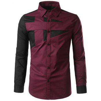 Buttoned Color Block Long Sleeve Shirt
