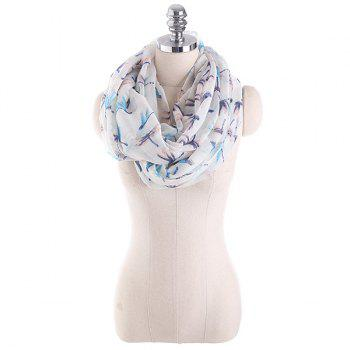 Multicolor Dragonfly Pattern Infinity Scarf - WHITE