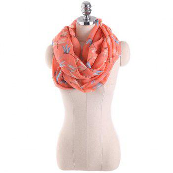 Multicolor Dragonfly Pattern Infinity Scarf - BURNT ORANGE