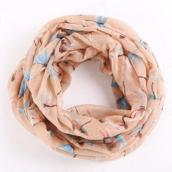 Multicolor Dragonfly Pattern Infinity Scarf - KHAKI