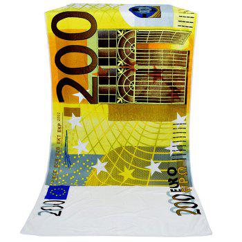 200 Euro Banknote Pattern Bath Towel -  YELLOW