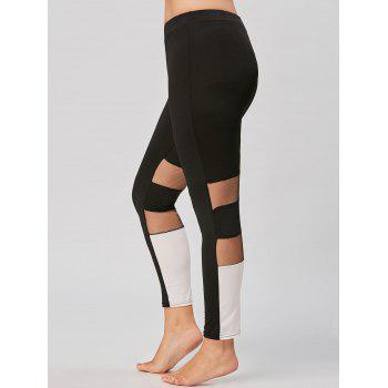 Plus Size Color Block Mesh Insert Workout Leggings - BLACK 3XL