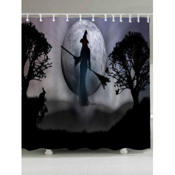 Halloween Witch Waterproof Fabric Shower Curtain
