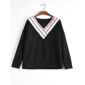 Plus Size Striped Panel V Neck Sweatshirt