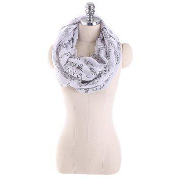 Music Note Stave Embellished Infinity Scarf - BLACK WHITE