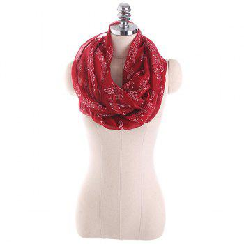 Music Note Stave Embellished Infinity Scarf - WINE RED
