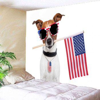 Waterproof Dog and American Flag Pattern Wall Hanging Tapestry - COLORMIX W79 INCH * L79 INCH