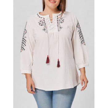 Plus Size Lace Up Embroidered Blouse