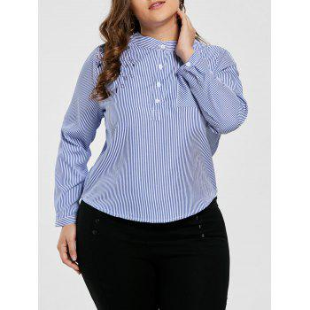 Plus Size Striped Pocket Floral Embroidered Blouse