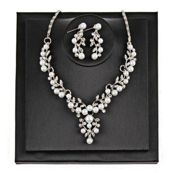 Branches and Leaves Faux Pearl Rhinestone Jewelry Set