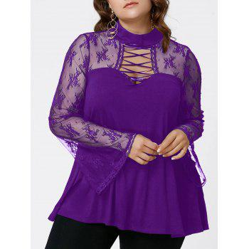 Plus Size Flare Sleeve Criss Cross See Thru Blouse