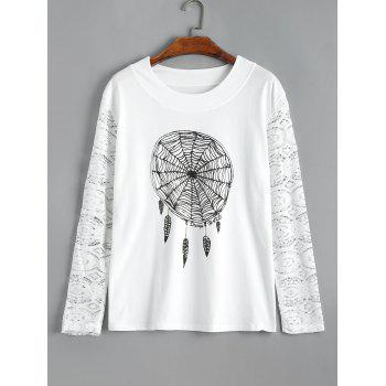 Plus Size Lace Sleeve Dreamcatcher Graphic Tee