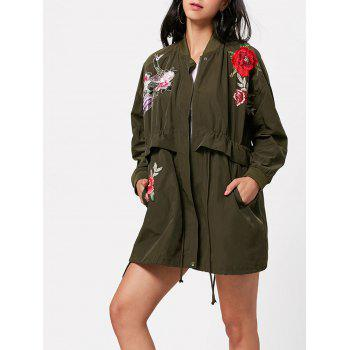 Zip Up Embroidery Coat with Pockets