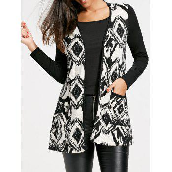 Open Front Tribal Print Cardigan