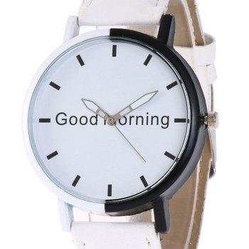 Good Morning Faux Leather Watch - WHITE