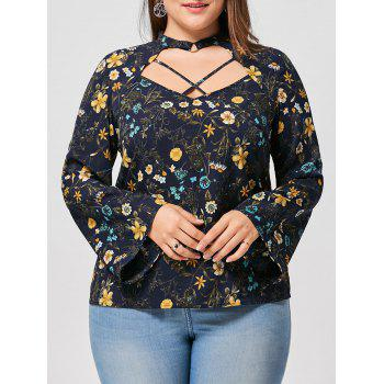 Plus Size Floral Flare Sleeve Keyhole Top