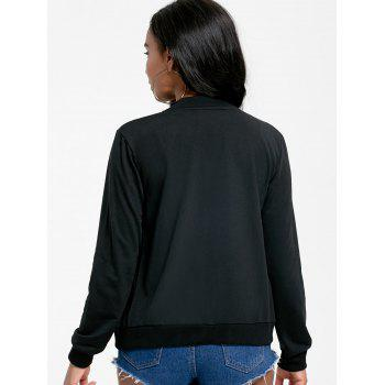 Zip Up Jacket with Pockets - BLACK XL