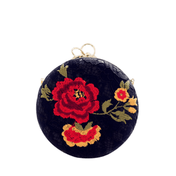 Embroidery Metal Ring Clutch Bag - BLACK