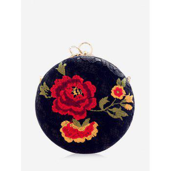 Embroidery Metal Ring Clutch Bag