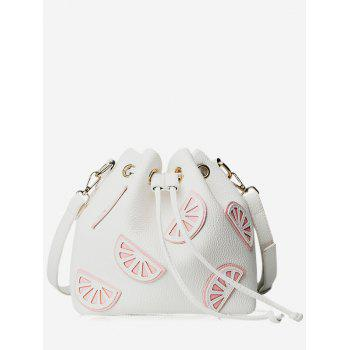 Drawstring Color Block Faux Leather Bucket Bag
