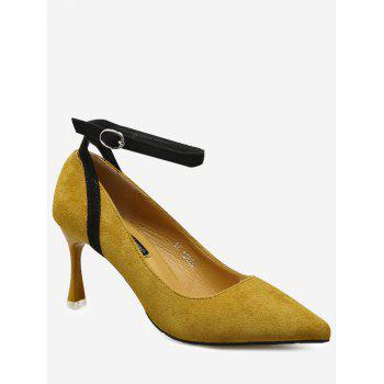 Mid Heel Pointed Toe Ankle Strap Pumps