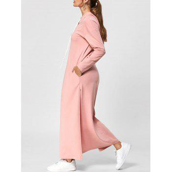 Drawstring Neck High Slit Maxi Hooded Dress