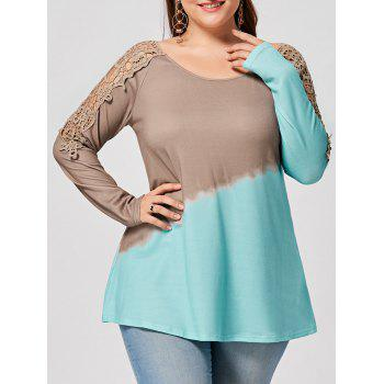 Plus Size Lace Panel Ombre Long Sleeve T-shirt