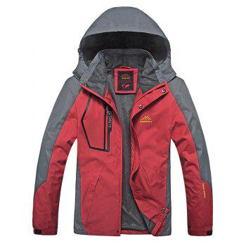 Zipper Pocket  Detachable Hood Track Jacket