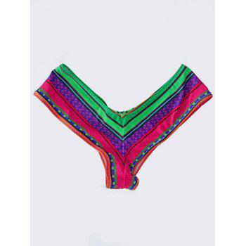High Cut Swim Panties - RED AND GREEN XL