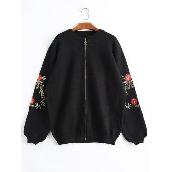 Floral Embroidered Plus Size Zip Up Knitted Coat