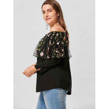 Plus Size Embroidery Off The Shoulder Capelet Top - BLACK 5XL