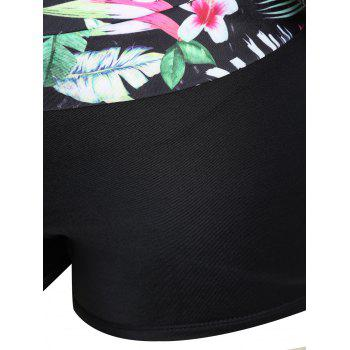 Tropical Leaf Floral Print Plus Size Tankini Set - BLACK 3XL