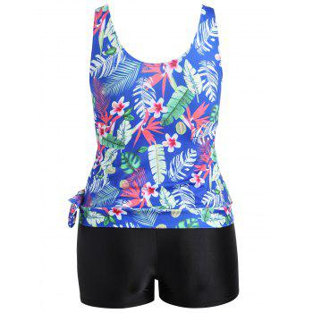 Tropical Leaf Floral Print Plus Size Tankini Set - BLUE 2XL