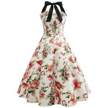 Retro Halter Floral Print Pin Up Dress - BEIGE M