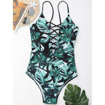 Leaf Print Lace Up Swimsuit - GREEN GREEN