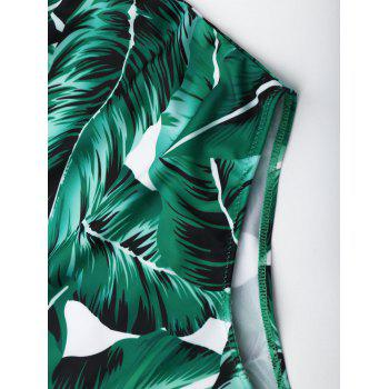 Lace Up Criss Cross Leaf Print Swimsuit - GREEN XL