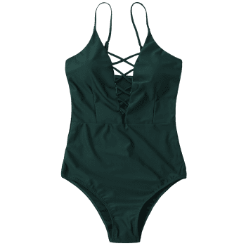 Criss Cross One Piece Swimsuit - DEEP GREEN XL