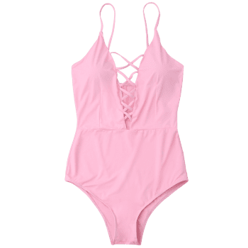 Criss Cross One Piece Swimsuit - LIGHT PINK S