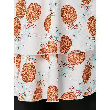 Pineapple Print Plus Size Tankini Set - WHITE 4XL